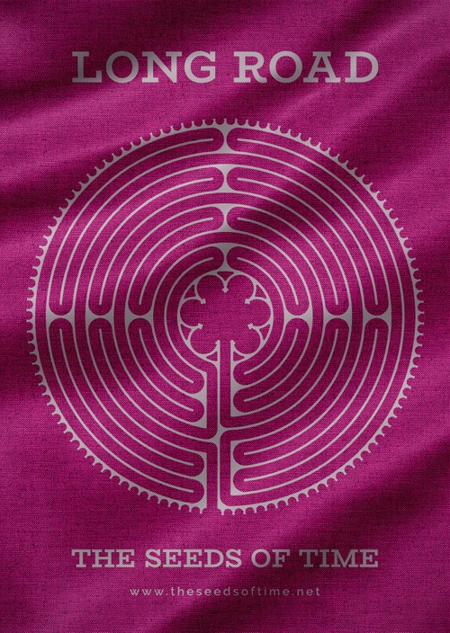 Poster art for album titled Long Road by The Seeds of Time on which there is silver graphic of a circular labyrinth and writing on a burgundy coloured fabric background