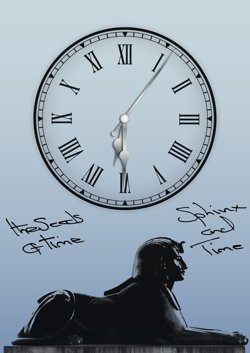 Poster art for EP album titled Sphinx and Time by The Seeds of Time on which there is a digital design of a clock showing 6:30:06 on a sky blue background with a dark bronze sphinx in the lower part of the poster