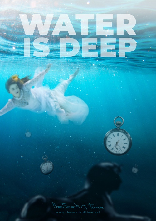 Poster art for song 'Water is deep' from album titled Spirit by The Seeds of Time on which there are shown sinking clocks alongside with a woman in a flowing dress floating near the surface and a dark shape of a sphinx in the depths of the ocean