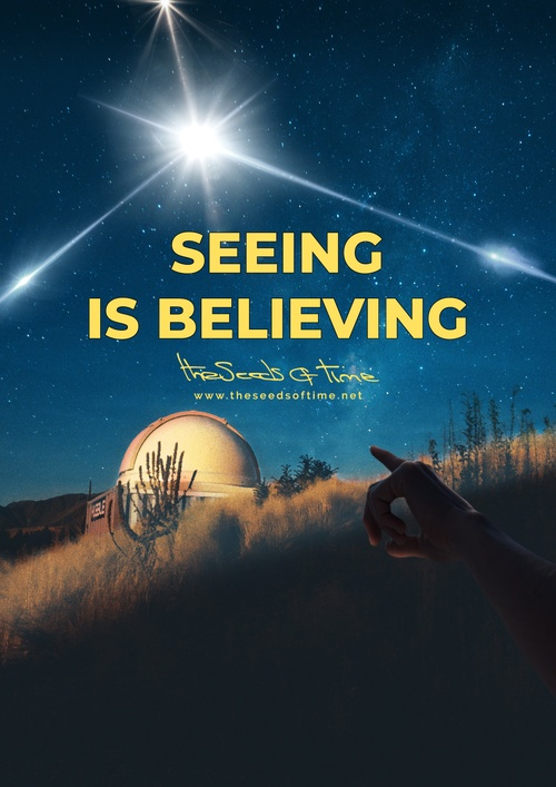 Poster art for song 'Seeing is believing' from album titled Random Exposure by The Seeds of Time on which there is shown a research telescope and a hand pointing towards the dark, stary sky where a bright and unexplained flash of light can be seen