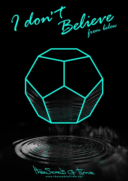 Poster art for song 'I Don't Believe, Pt.2' from album titled Random Exposure by The Seeds of Time on which there is shown a neon glowing dodecahedron reflecting in a ripple of water below it