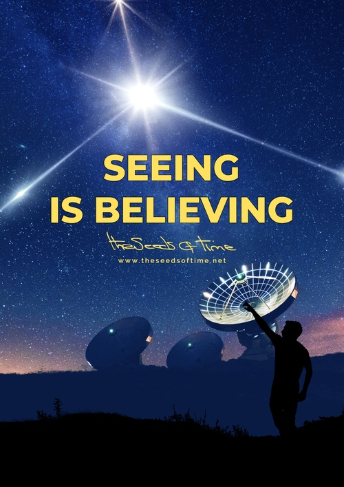 Poster art for song 'Seeing is believing' from album titled Random Exposure by The Seeds of Time on which there are shown research radio telescopes along with a silhouette of a person in the foreground pointing towards the dark, stary sky where a bright and unexplained flash of light can be seen