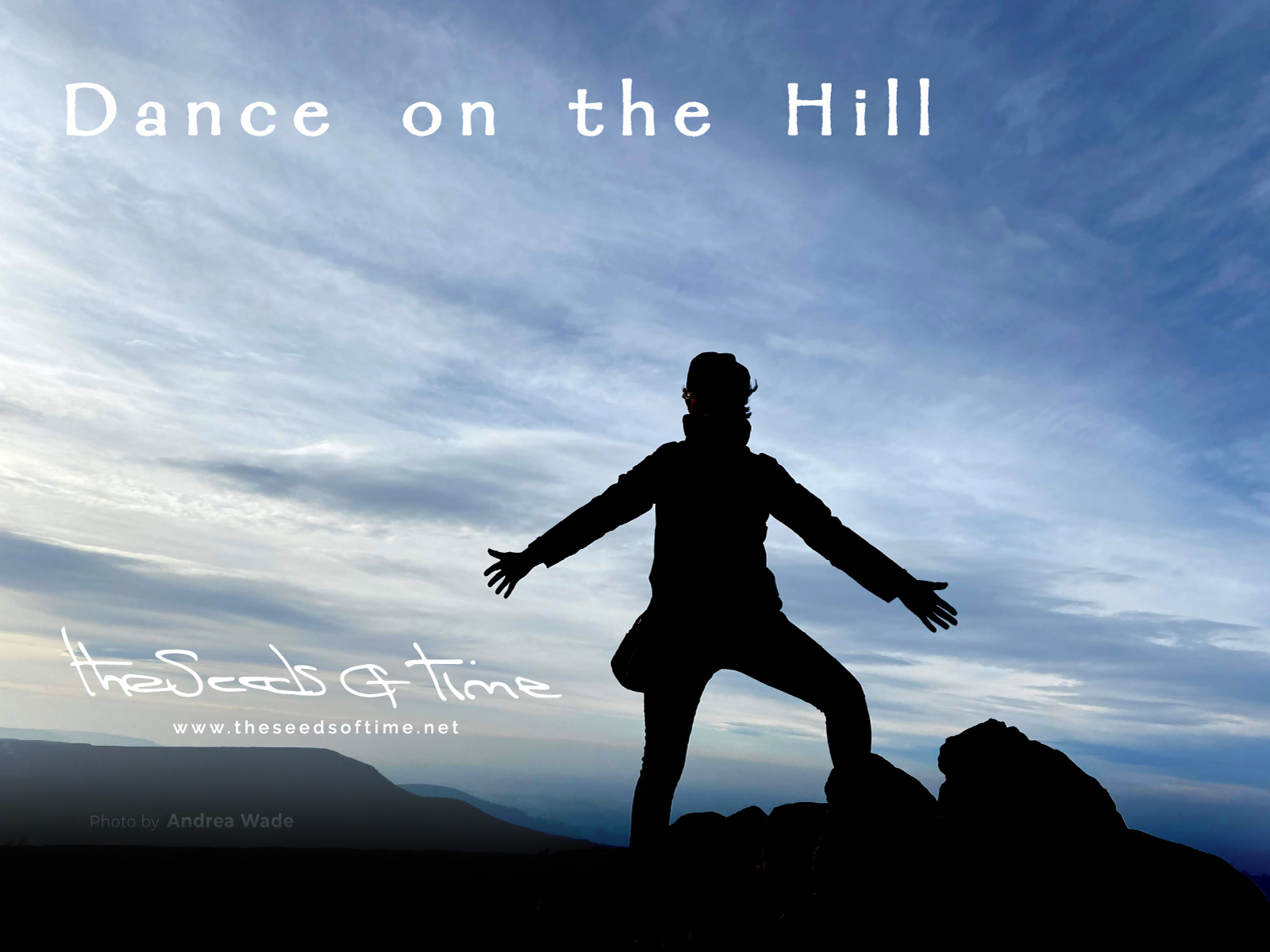 Photograph by Andrea Wade for song 'Dance on The Hill' from album titled Random Exposure on which there is shown a silhouette of a person against a vast and open landscape behind