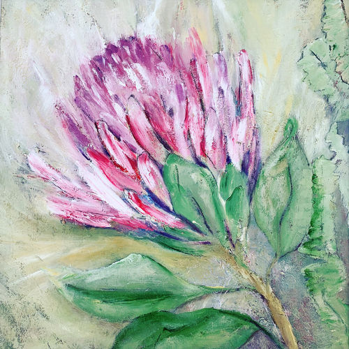 An oil on canvas painting of a flower by Lois Winter