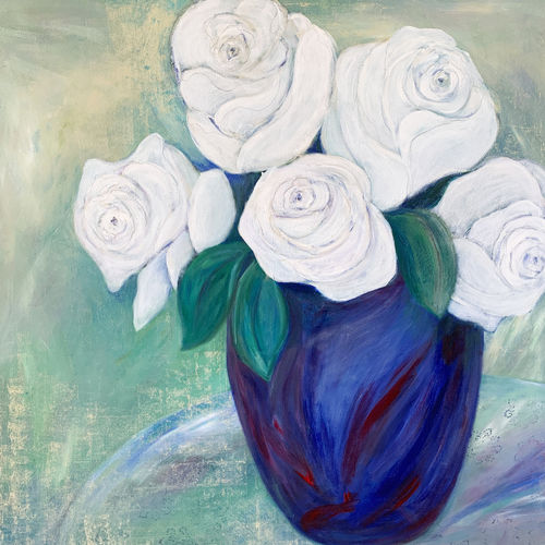 An oil on canvas painting of a vase with white rose flowers by Lois Winter