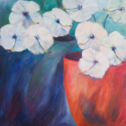 An oil on canvas painting of flowers by Lois Winter