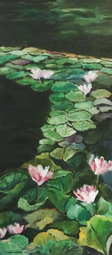An oil on canvas painting of water flowers by Lois Winter