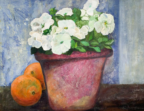 An oil on canvas painting of a vase with flowers and oranges by Lois Winter