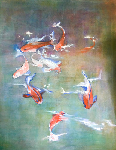 An oil on canvas painting of fish in a pond by Lois Winter