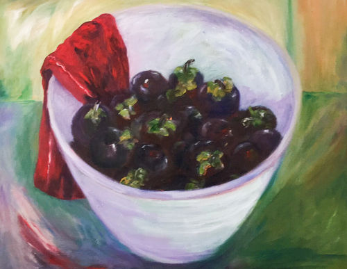 An oil on canvas painting of bowl of fruit by Lois Winter
