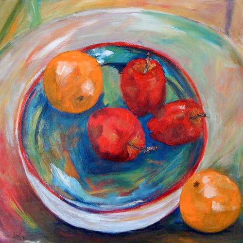 An oil on canvas painting of apples and oranges in a bowl by Lois Winter