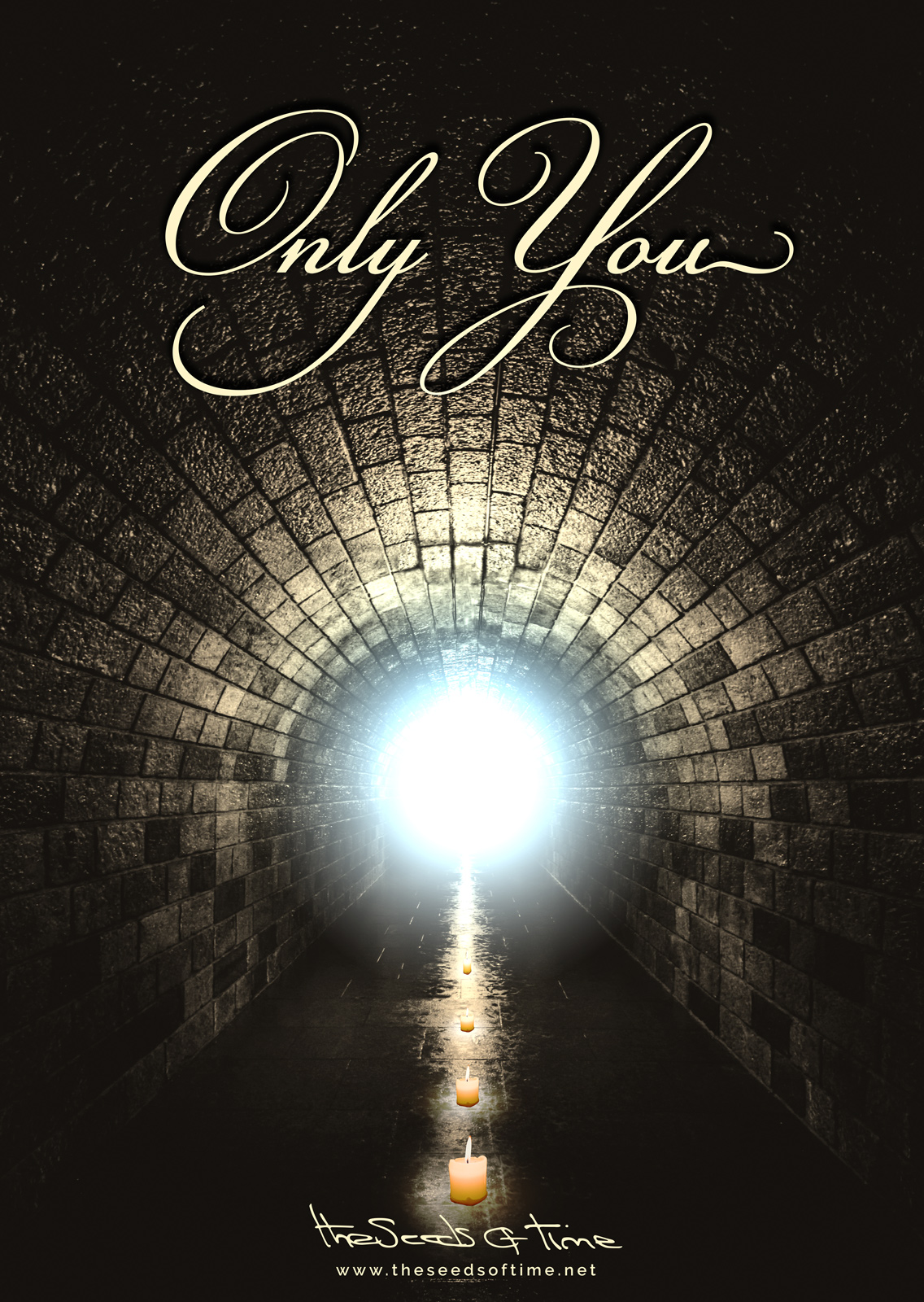 Poster art for song 'Only You' from album titled Long Road by The Seeds of Time on which there is shown a tunnel lit by a set of candles and a bright flash of sky blue light at the end of it
