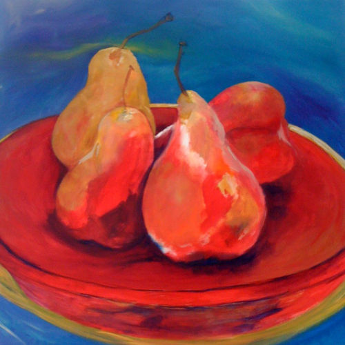 Still life painting with a dish of pears by Lois Winter