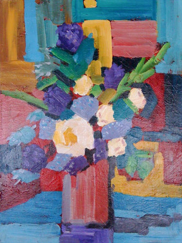 An oil on canvas painting of a vase with flowers by Lois Winter